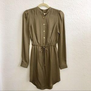 Michael Kors Olive Green Silk Button-up Dress